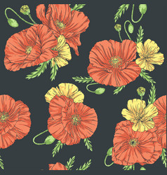 poppies seamless pattern dark background vector image