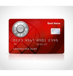 Realistic credit card template with code lock vector image