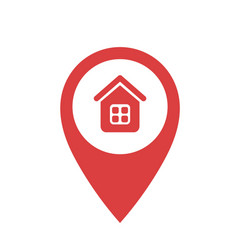 red point with house icon on a white background vector image