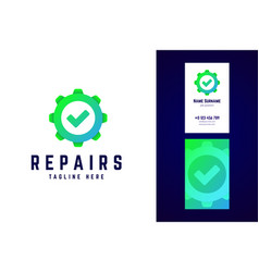 Repair logo and business card template gear sign vector