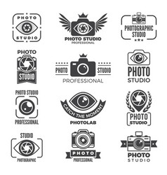 Retro pictures and logos for photo studios vector