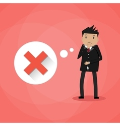 Sad cartoon businessman and red cross vector image vector image