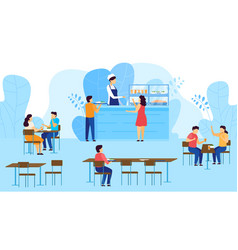 School canteen cafeteria children take tray with vector