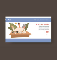 School teaching about blogging and writing web vector
