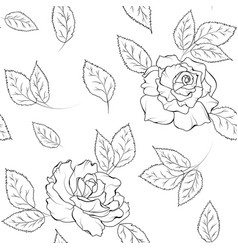 Seamless pattern rose flowers leaves black white vector