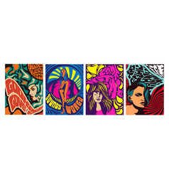 Set four poster designs psychedelic girls vector