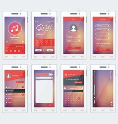 Set modern smartphone with apps flat design vector