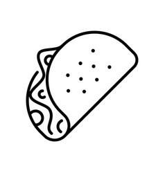shawarma thin line icon isolated on white burrito vector image