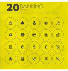 Simple thin banking icons collection vector image