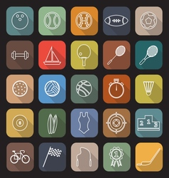 Sport line flat icons with long shadow vector