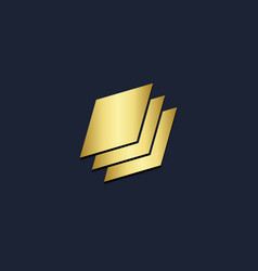 square paper gold logo vector image