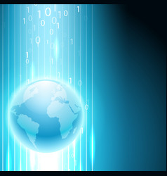 Stream of binary code to the globe vector