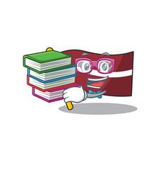 Student bring book cartoon flag latvia vector