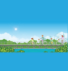 summer vacation family are riding bicycles on vector image