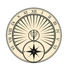 sundial with windrose vector image