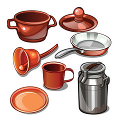 tableware and household items made of metal vector image