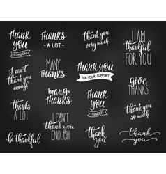 Thank you Family Positive quote lettering set vector