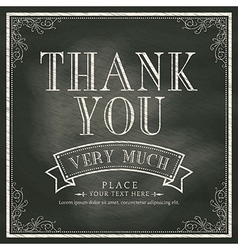 Thank You wording Vintage Chalkboard Background vector