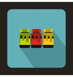 Three plastic jars with colored gouache icon vector