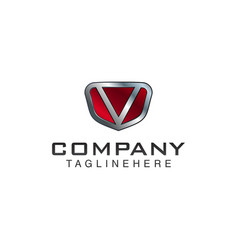v letter shield logo template black and red color vector image