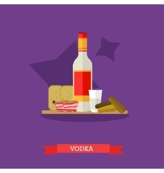 Vodka bottle and shot with snack flat design vector