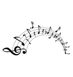 wavy musical staff with notes on a white vector image
