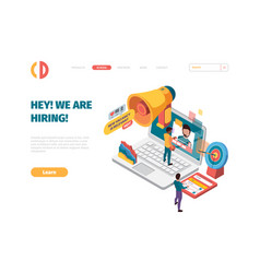 We are hiring landing business employers person vector