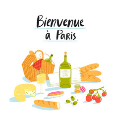 Welcome to paris picnic vector