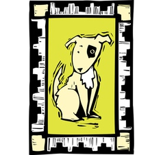 Woodcut Dog vector image