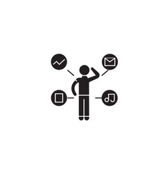 work thoughts black concept icon work vector image