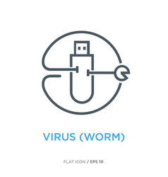 Worm virus line flat icon ver 1 vector