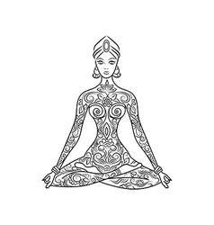 Yoga lotus position meditation entangle vector