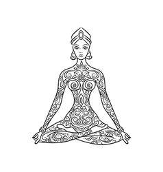Yoga lotus position meditation zentangle vector