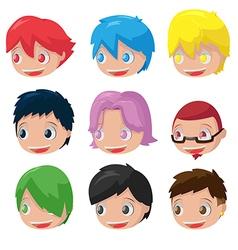 Character Cartoon Hair Head Set vector image
