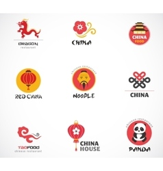 Chinese restaurant and coffee shops icons menu vector image vector image