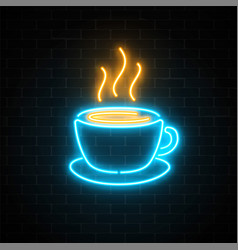 glowing neon coffee cup icon on a dark brick wall vector image