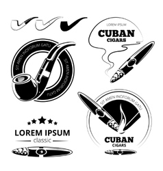 Tobacco leaves cigars and hookah labels vector image vector image