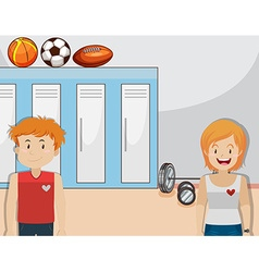 Boy and girl in the gym vector