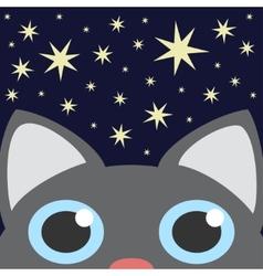 Grey Cat Looking Up In Night Star Sky vector image