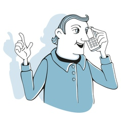 Man with cell phone vector image