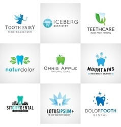 Set of dental logos tooth designs Bright vector image