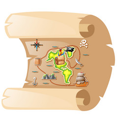 treasure map on brown paper vector image