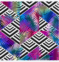 bright colors exotic leaves on geometric vector image vector image