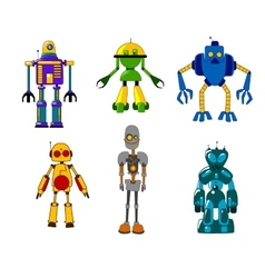 Colorful set of classic toy robots vector image