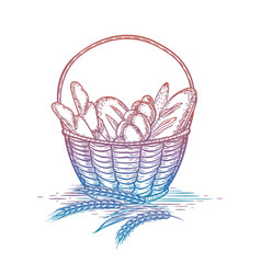 colorful wicker basket of bread goods vector image