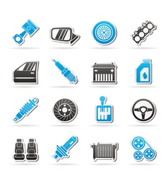 Detailed car parts icons vector
