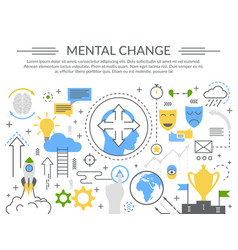 mental change concept flat composition vector image