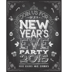 New Years Eve party invitation on chalkboard vector image vector image