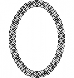 oval frame with a meander vector image vector image