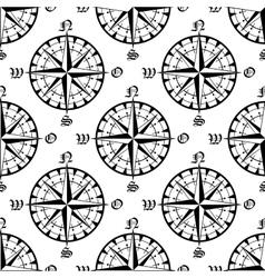 Seamless vintage navigation compass pattern vector image vector image